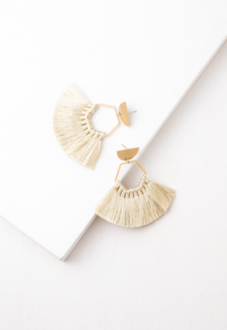 Tessa Beige Tassel Earrings