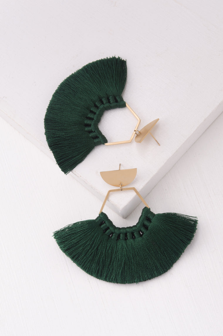 Tessa Green Tassel Earrings
