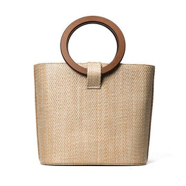 Venus Straw Tote with Wooden Handle