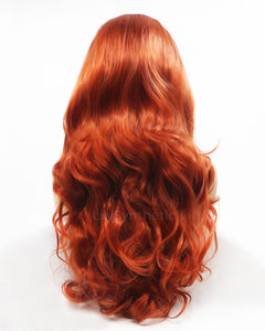 Karen | Stunning Red Solid Long Wavy Synthetic Hair Lace Front Wig