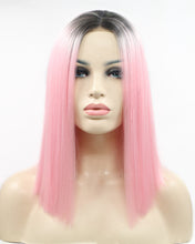 Load image into Gallery viewer, Sarah |  Amazing Pink Ombre Medium Length Straight Synthetic Hair Lace Front Wig