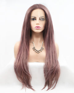 Monica |  Fashion Dusty Pink Long Straight Synthetic Hair Lace Front Wig