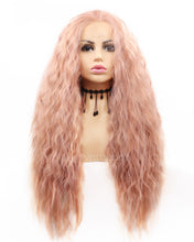 Load image into Gallery viewer, Darlene | Sweet Dusty Pink Long Wavy Synthetic Hair Lace Front Wig