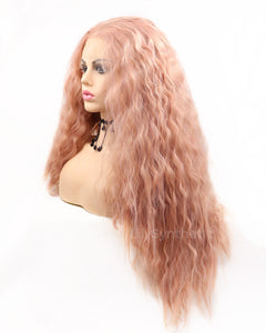 Darlene | Sweet Dusty Pink Long Wavy Synthetic Hair Lace Front Wig