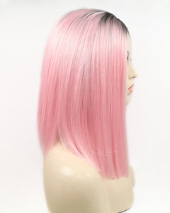 Sarah |  Amazing Pink Ombre Medium Length Straight Synthetic Hair Lace Front Wig