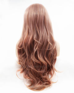 Samantha | Sweet Dusty Pink Long Wavy Synthetic Hair Lace Front Wig