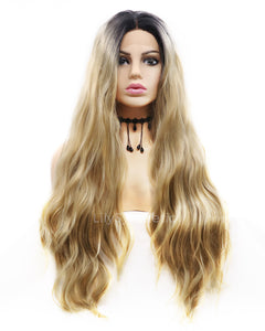 Brandice |  Amazing Blonde Ombre Long Wavy Synthetic Hair Lace Front Wig