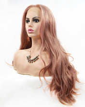 Load image into Gallery viewer, Samantha | Sweet Dusty Pink Long Wavy Synthetic Hair Lace Front Wig