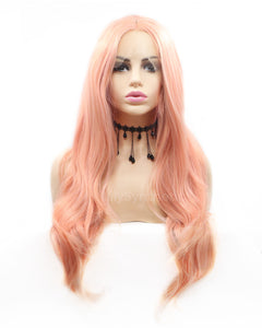 Georgia | Charming Dusty Pink Long Wavy Synthetic Hair Lace Front Wig