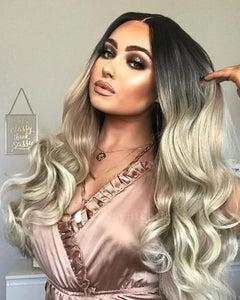 Elizabeth | Stylish Balayage Long Wavy Synthetic Hair Lace Front Wig