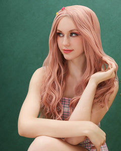 Camila | Sweet Dusty Pink Long Wavy Synthetic Hair Lace Front Wig