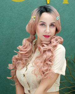 Penelope | Elegant Dusty Pink Ombre Long Natural Wavy Synthetic Hair Wig