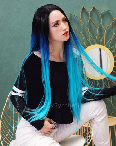 Lillian | Trendy Blue Balayage Long Natural Straight Synthetic Hair Wig