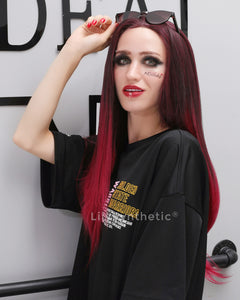 Ivy | Alluring Red Ombre Long Natural Straight Synthetic Hair Wig