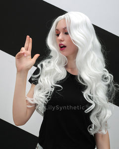 Aaliyah | Angelic White Long Natural Wavy Synthetic Hair Wig