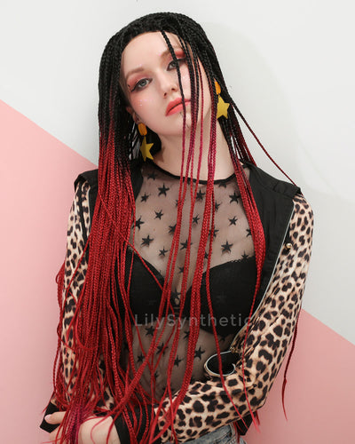 Anna | Fashionable Red Ombre Long Synthetic Hair Braided Wig