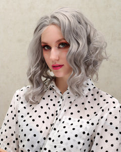 Aria | Graceful Grey Medium Length Wavy Synthetic Hair Lace Front Wig