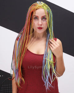 Caroline | Splendid Rainbow Color Long Synthetic Hair Braided Wig