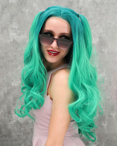 Emily | Cute Mint Ombre Long Wavy Synthetic Hair Lace Front Wig