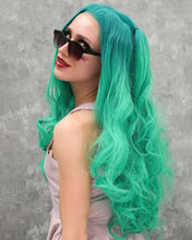 Load image into Gallery viewer, Emily | Cute Mint Ombre Long Wavy Synthetic Hair Lace Front Wig