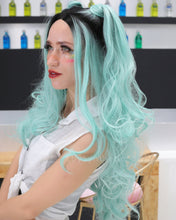 Load image into Gallery viewer, Evelyn | Stunning Lignt Blue Ombre Long Wavy Synthetic Hair Lace Front Wig