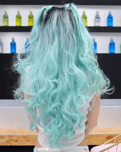 Evelyn | Stunning Lignt Blue Ombre Long Wavy Synthetic Hair Lace Front Wig