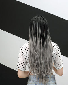 Everly | Classy Grey Ombre Long Synthetic Hair Braided Wig