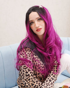 Harper | Charming Purple Ombre Long Wavy Synthetic Hair Lace Front Wig