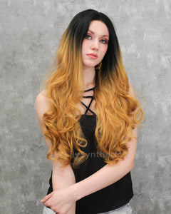 Luna | Vintage Golden Blonde Ombre Long Natural Wavy Synthetic Hair Wig