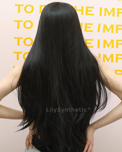 Lydia | Elegant Black Long Natural Straight Synthetic Hair Wig