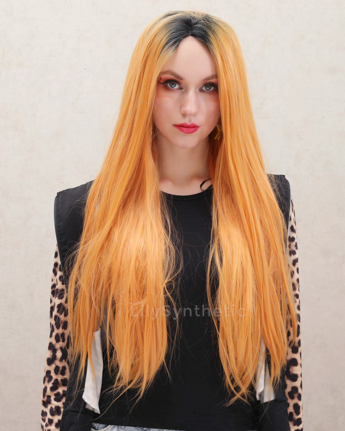 Madison | Splendid Orange Ombre Long Natural Straight Synthetic Hair Wig