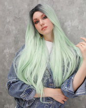 Load image into Gallery viewer, Scarlett | Classy Mint Ombre Long Wavy Straight Synthetic Hair Lace Front Wig
