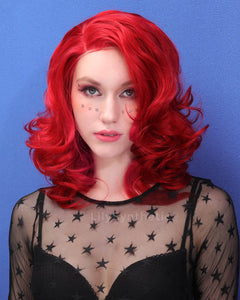 Valentina | Sexy Red Medium Length Natural Wavy Synthetic Hair Wig