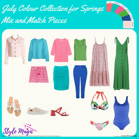 Mix and Match capsule wardrobe for July in colours from the warm, bright Spring palette