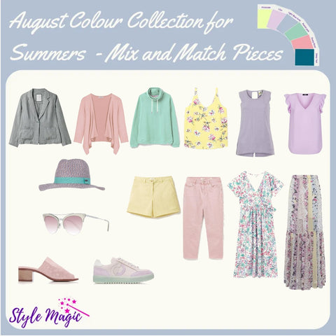 Mix and match Capsule Wardrobe Style in the Summer colour palette