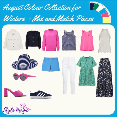 Mix and Match wardrobe pieces in the cool, bright, deep Winter palette