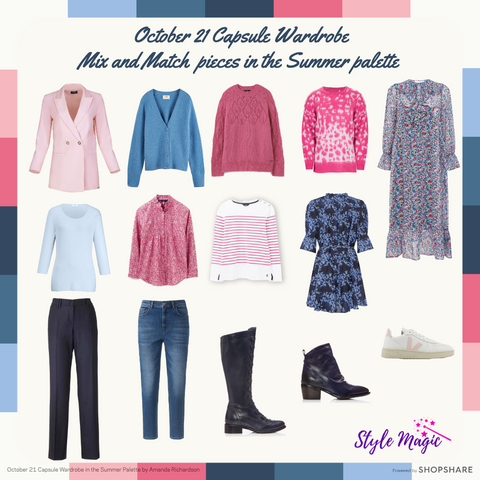 October 21 mix and match pieces in the Summer palette