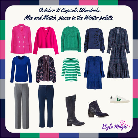 October 21 Mix and match Capsule Wardrobe in the Winter palette