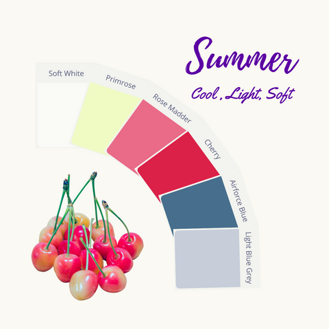 September shades in the cool, soft summer palette