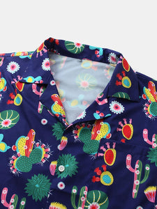 Men Fun Cartoon Cactus Print Beach Casual Shirt