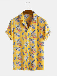 Mens Cotton Tropical Fruit Plant Parrot Pineapple Printed Short Sleeve Floral Shirt