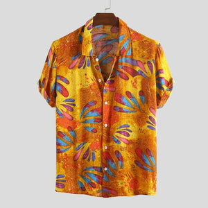 Mens Summer Ethnic Printed Stand Collar Short Sleeve Loose Casual Shirts