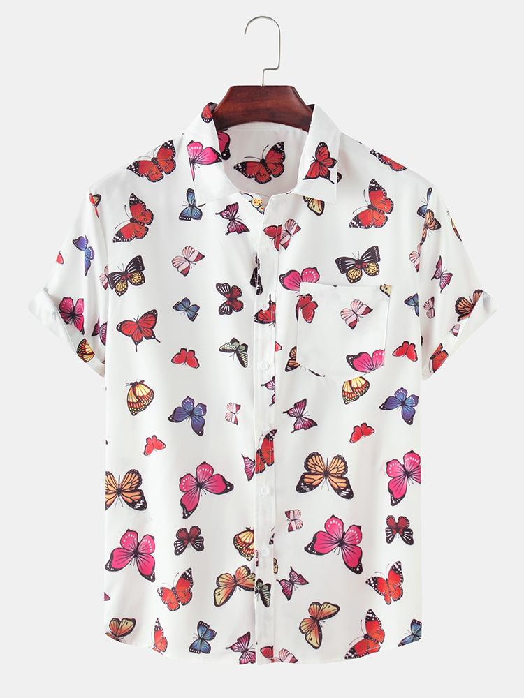 Mens Colorful Butterfly Print Beach Holiday Casual Shirt