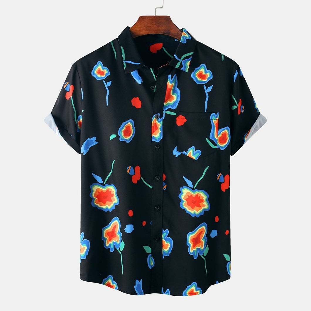 Mens Abstract Floral Printed Casual Breathable Short Sleeve Shirt