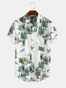 Mens Plant & Character Printed Breathable Short Sleeve Shirt