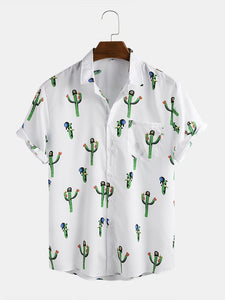 Mens Cute Cactus Design Printed Chest Pocket  Loose Short Sleeve Shirts