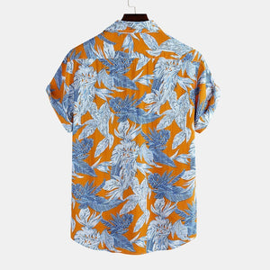 Mens Floral Printed Chest Pocket Short Sleeve Casual Loose Shirts