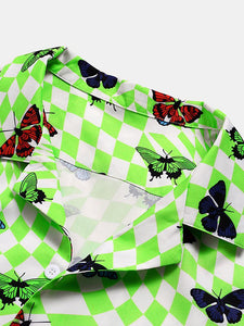 Color Butterfly Print Holiday Casual Shirt