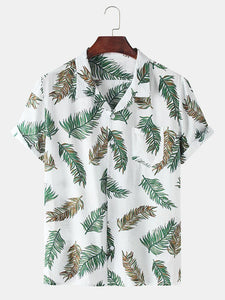 Men Cotton Holiday Style Palm Leaf Printed Casual Shirt