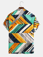 Cargar imagen en el visor de la galería, Men Geometric Color Block Contrast Beach Vacation Casual Shirt